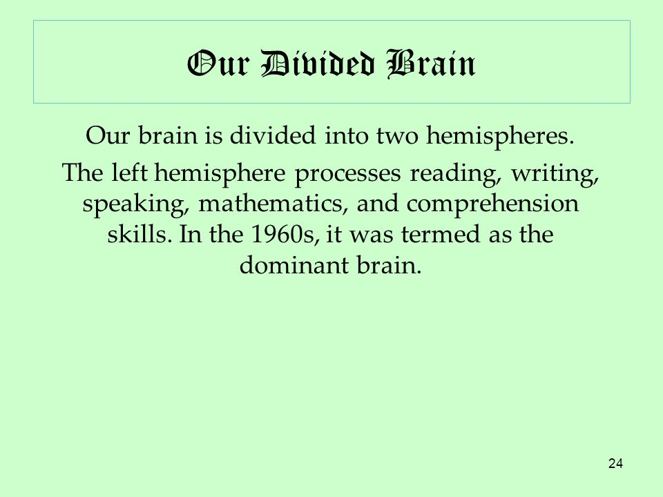 24 Our Divided Brain Our brain is divided into two hemispheres.
