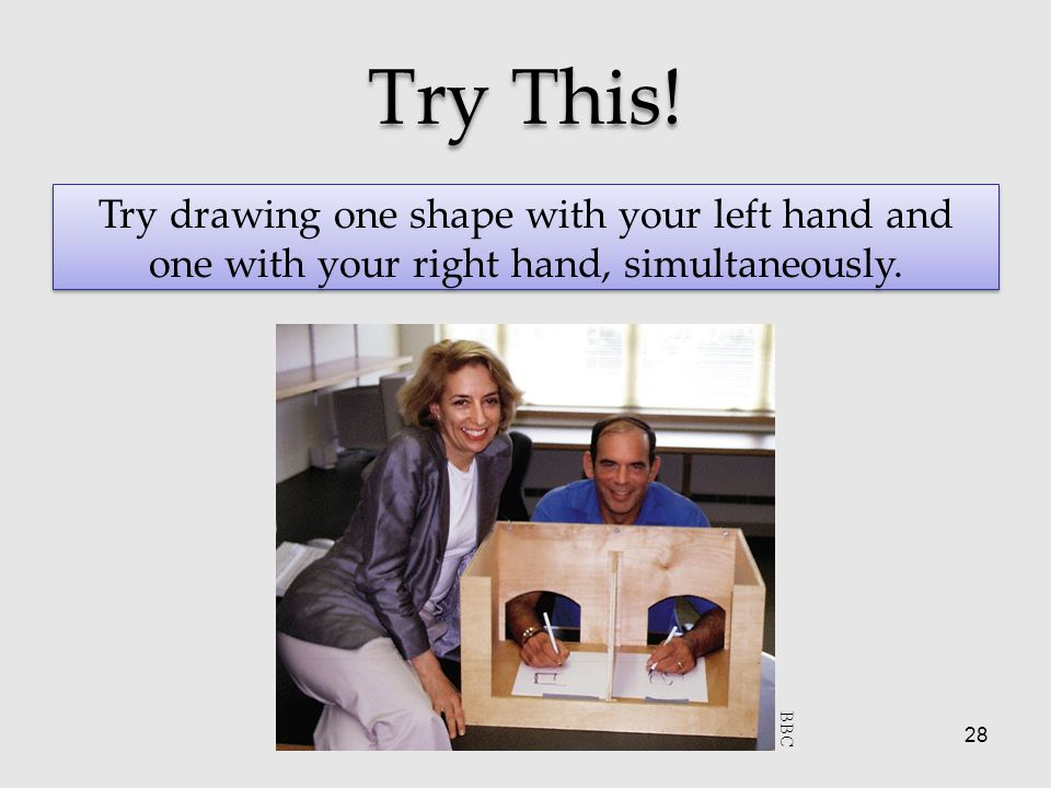 28 Try This! Try drawing one shape with your left hand and one with your right hand, simultaneously. BBC