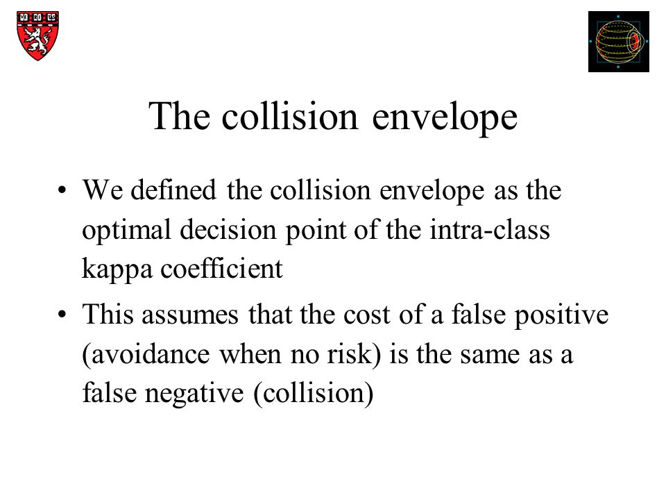 The collision envelope We defined the collision envelope as the optimal decision point of the intra-class kappa coefficient This assumes that the cost of a false positive (avoidance when no risk) is the same as a false negative (collision)