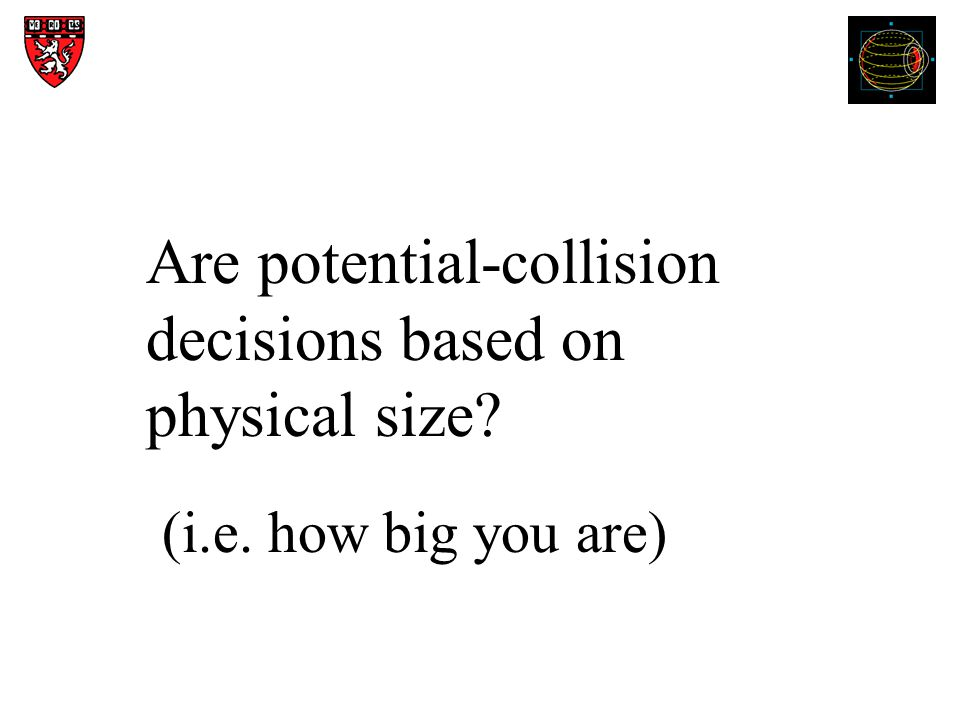 Are potential-collision decisions based on physical size (i.e. how big you are)