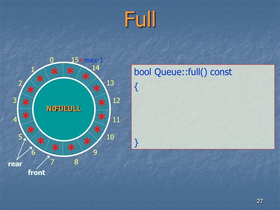 27 0 1 2 3 4 5 6 78 9 10 11 12 13 14 15=max-1 rear front ** * * * * * * * * * * Full bool Queue::full() const { } * * * * NOT FULL FULL