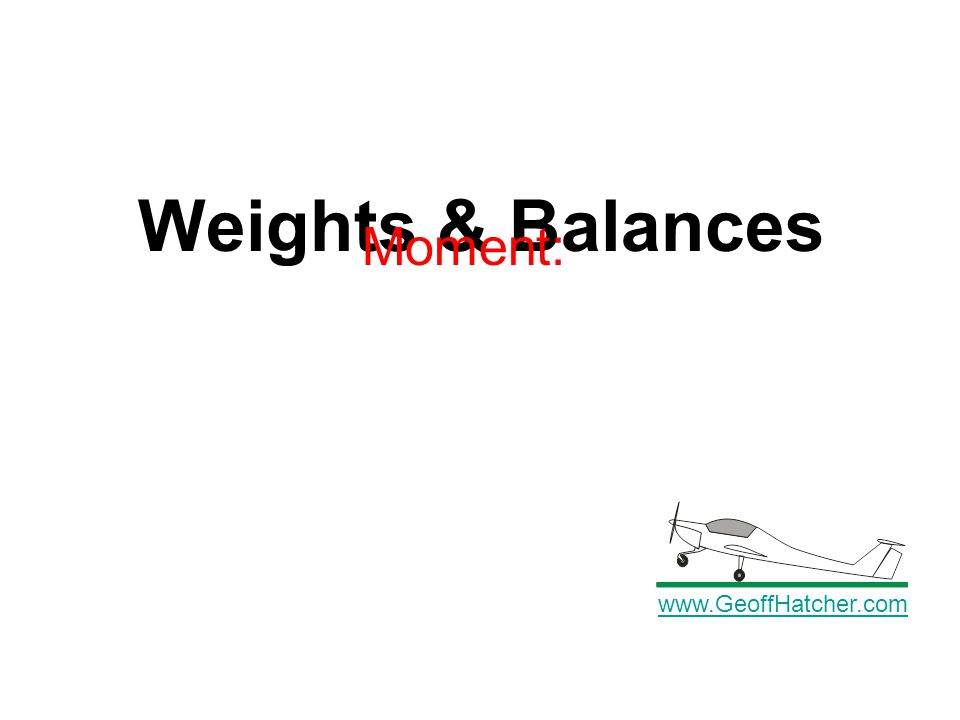 Weights & Balances www.GeoffHatcher.com Moment: