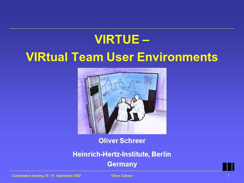 Concertation meeting,10.-11. September 2002Oliver Schreer1 VIRTUE – VIRtual Team User Environments Oliver Schreer Heinrich-Hertz-Institute, Berlin Ger