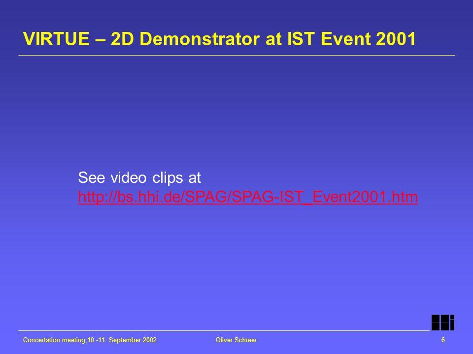 Concertation meeting,10.-11. September 2002Oliver Schreer6 VIRTUE – 2D Demonstrator at IST Event 2001 See video clips at http://bs.hhi.de/SPAG/SPAG-IS