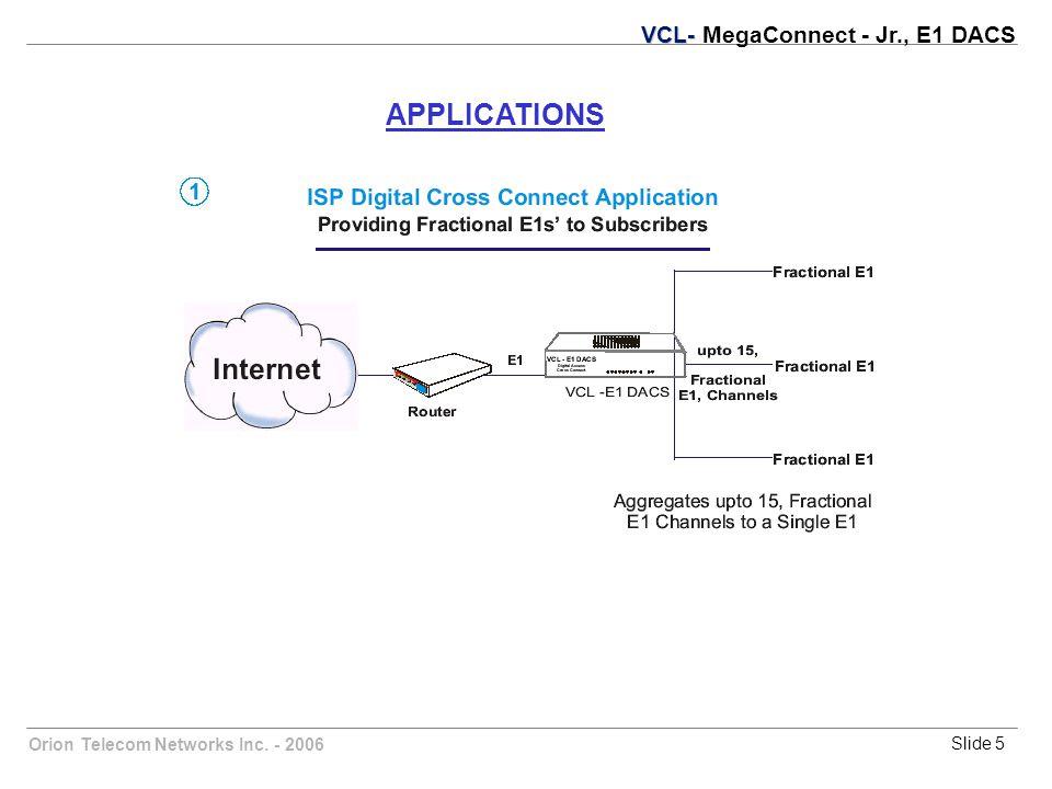 Orion Telecom Networks Inc. - 2006Slide 5 APPLICATIONS VCL- VCL- MegaConnect - Jr., E1 DACS