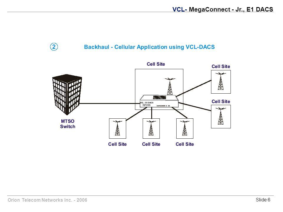 Orion Telecom Networks Inc. - 2006Slide 6 VCL- VCL- MegaConnect - Jr., E1 DACS