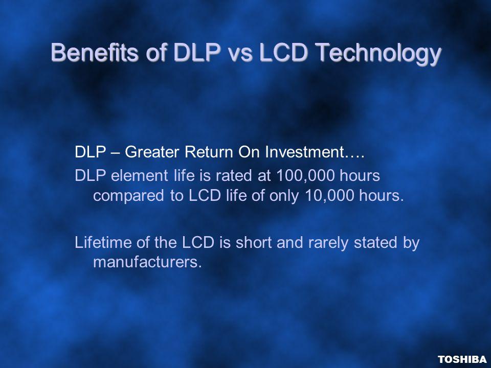 Benefits of DLP vs LCD Technology DLP – Greater Return On Investment….