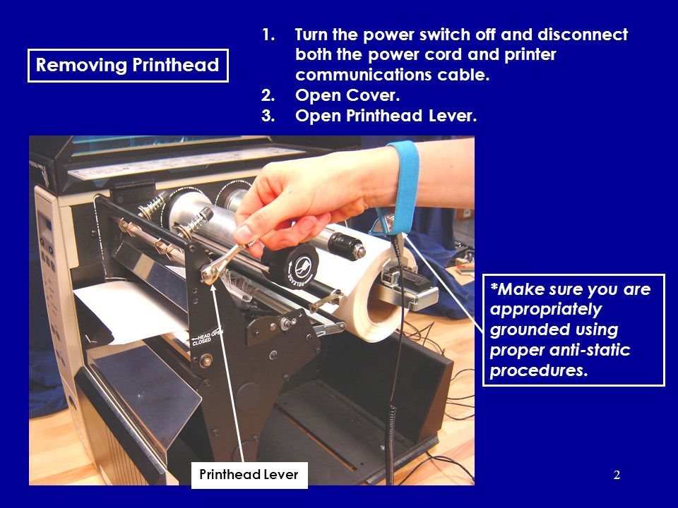 2 Removing Printhead 1.Turn the power switch off and disconnect both the power cord and printer communications cable.