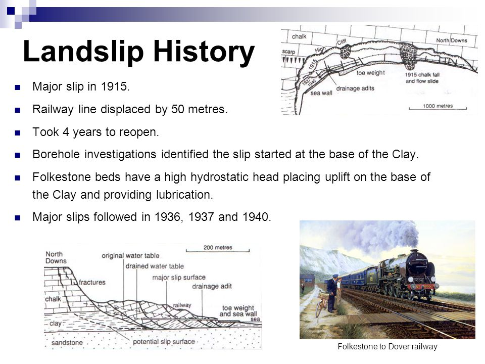 Landslip History Major slip in 1915. Railway line displaced by 50 metres. Took 4 years to reopen. Borehole investigations identified the slip started