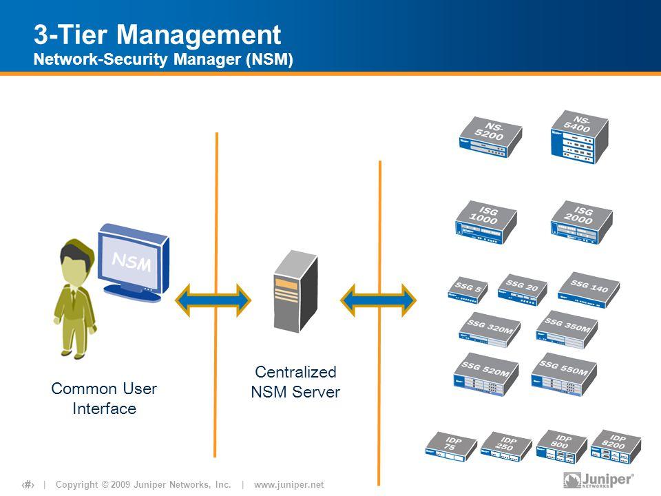 | Copyright © 2009 Juniper Networks, Inc. | www.juniper.net 23 3-Tier Management Network-Security Manager (NSM) IDP Appliances ISG / ISG with IDP Cent