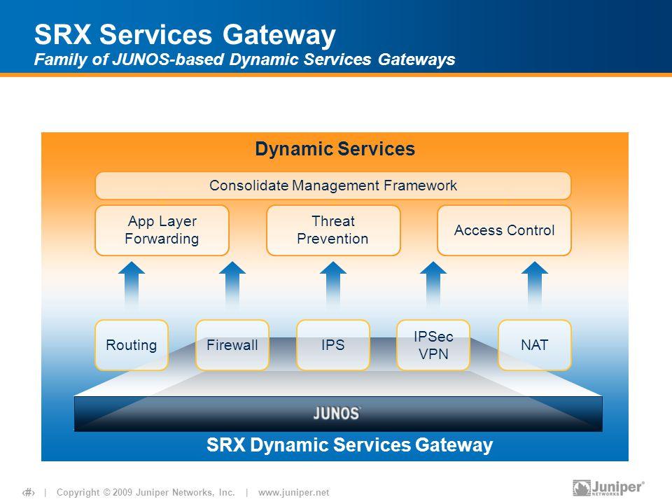 | Copyright © 2009 Juniper Networks, Inc. | www.juniper.net 8 Dynamic Services Consolidate Management Framework App Layer Forwarding Threat Prevention