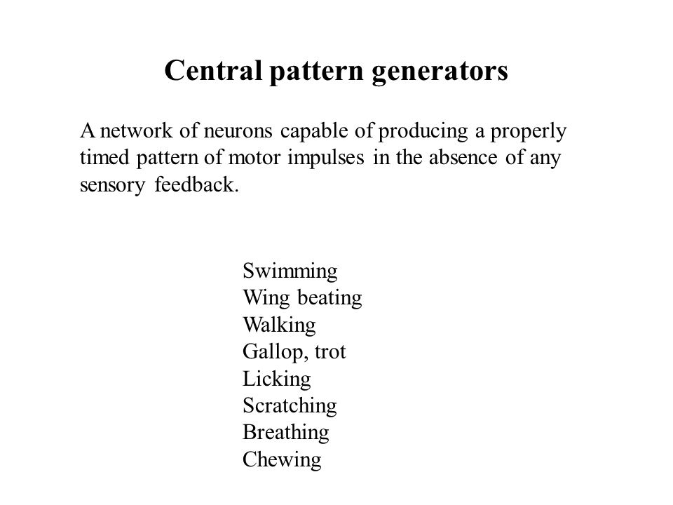 Central pattern generators A network of neurons capable of producing a properly timed pattern of motor impulses in the absence of any sensory feedback.