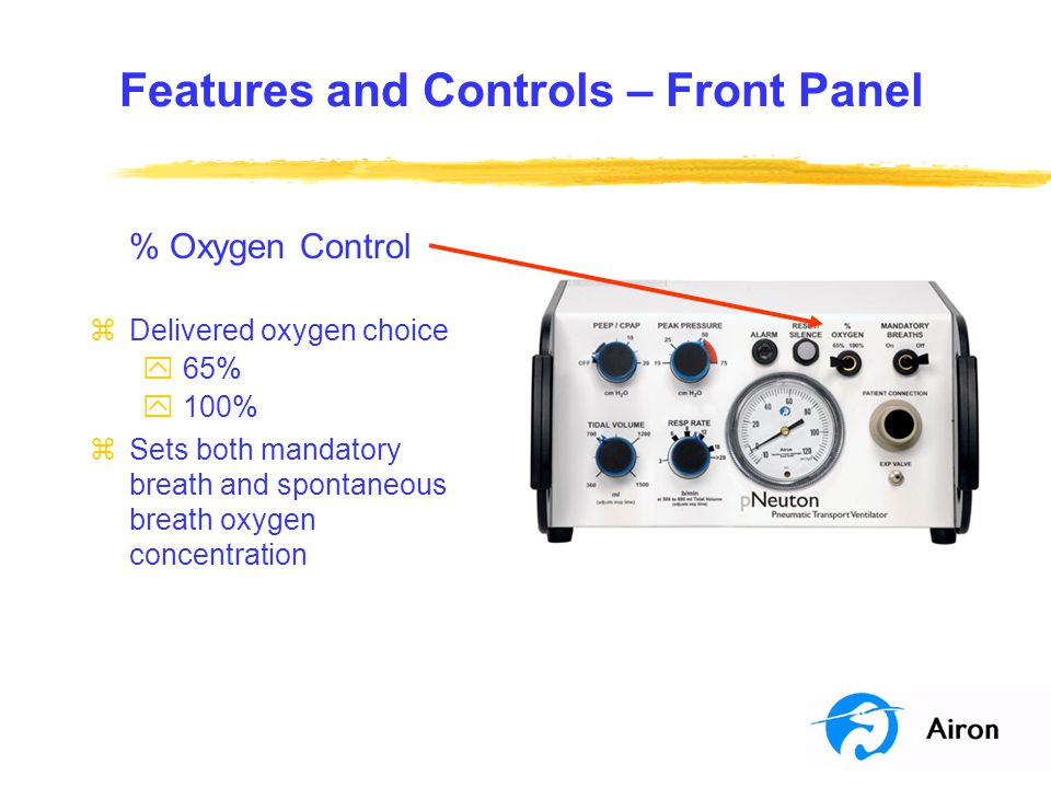 Features and Controls – Front Panel % Oxygen Control zDelivered oxygen choice y 65% y 100% zSets both mandatory breath and spontaneous breath oxygen c