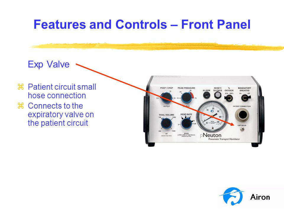 Features and Controls – Front Panel Exp Valve zPatient circuit small hose connection zConnects to the expiratory valve on the patient circuit