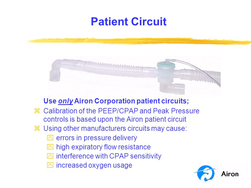 Patient Circuit Use only Airon Corporation patient circuits; zCalibration of the PEEP/CPAP and Peak Pressure controls is based upon the Airon patient