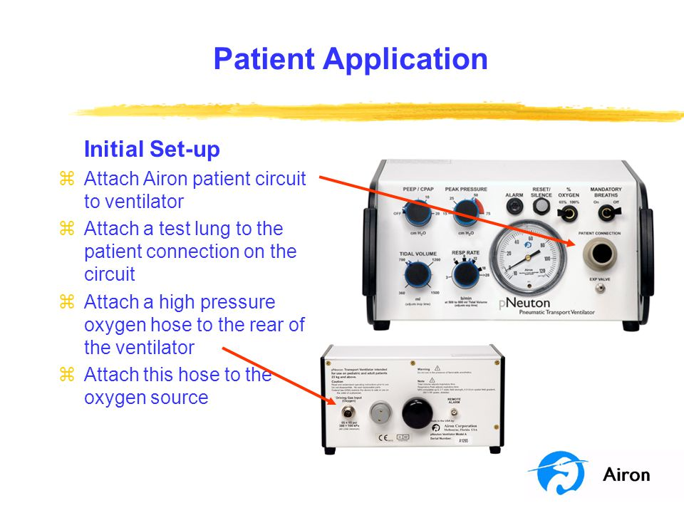 Patient Application Initial Set-up zAttach Airon patient circuit to ventilator zAttach a test lung to the patient connection on the circuit zAttach a