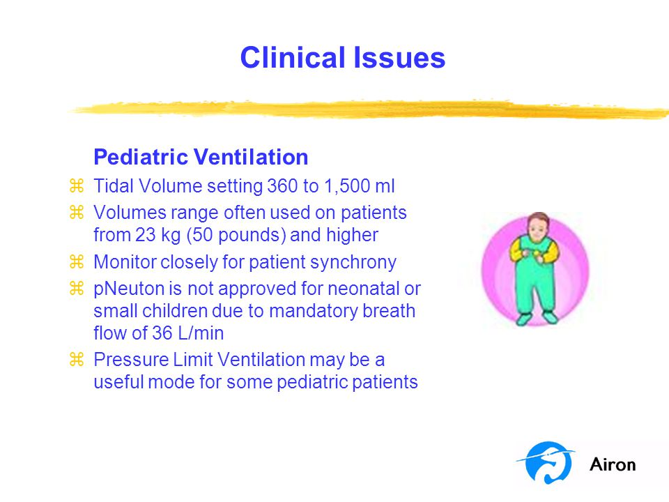 Clinical Issues Pediatric Ventilation zTidal Volume setting 360 to 1,500 ml zVolumes range often used on patients from 23 kg (50 pounds) and higher zM