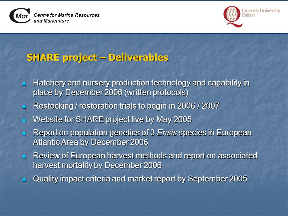 SHARE project – Deliverables Hatchery and nursery production technology and capability in place by December 2006 (written protocols) Hatchery and nursery production technology and capability in place by December 2006 (written protocols) Restocking / restoration trials to begin in 2006 / 2007 Restocking / restoration trials to begin in 2006 / 2007 Website for SHARE project live by May 2005 Website for SHARE project live by May 2005 Report on population genetics of 3 Ensis species in European Atlantic Area by December 2006 Report on population genetics of 3 Ensis species in European Atlantic Area by December 2006 Review of European harvest methods and report on associated harvest mortality by December 2006 Review of European harvest methods and report on associated harvest mortality by December 2006 Quality impact criteria and market report by September 2005 Quality impact criteria and market report by September 2005 Centre for Marine Resources and Mariculture