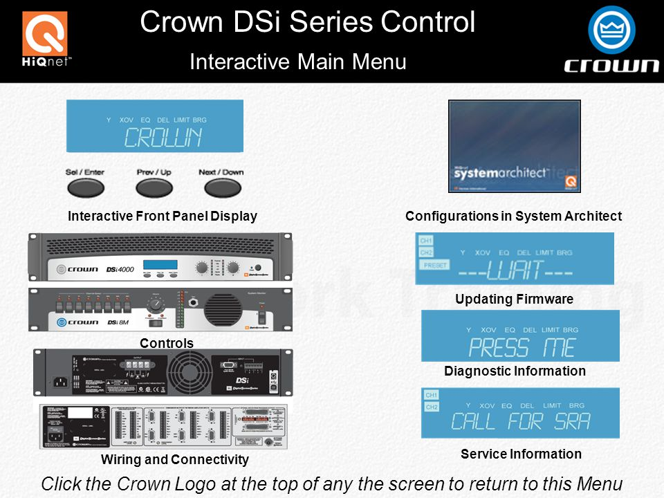 Crown DSi Series Control Front Panel Controls & Indicators Power Switch Blue Power LED Detented Rotary Gain Controls Backlit LCD Display Display Navigation controls Meter LEDs Indicates Amplifier Is Ready To Pass Audio Signal Will Flash With Audio Flashes When Output Exceeds -20dB Below Clip Flashes When Output Exceeds -10dB Below Clip Turns On At Onset Of Audible Distortion Turns on Under Extreme Thermal Conditions