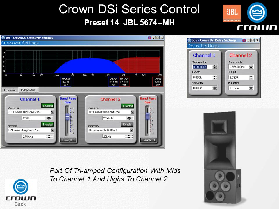 Crown DSi Series Control Back Preset 14 JBL 5674--MH Part Of Tri-amped Configuration With Mids To Channel 1 And Highs To Channel 2