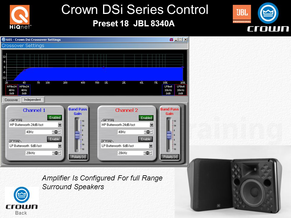 Crown DSi Series Control Back Preset 18 JBL 8340A Amplifier Is Configured For full Range Surround Speakers