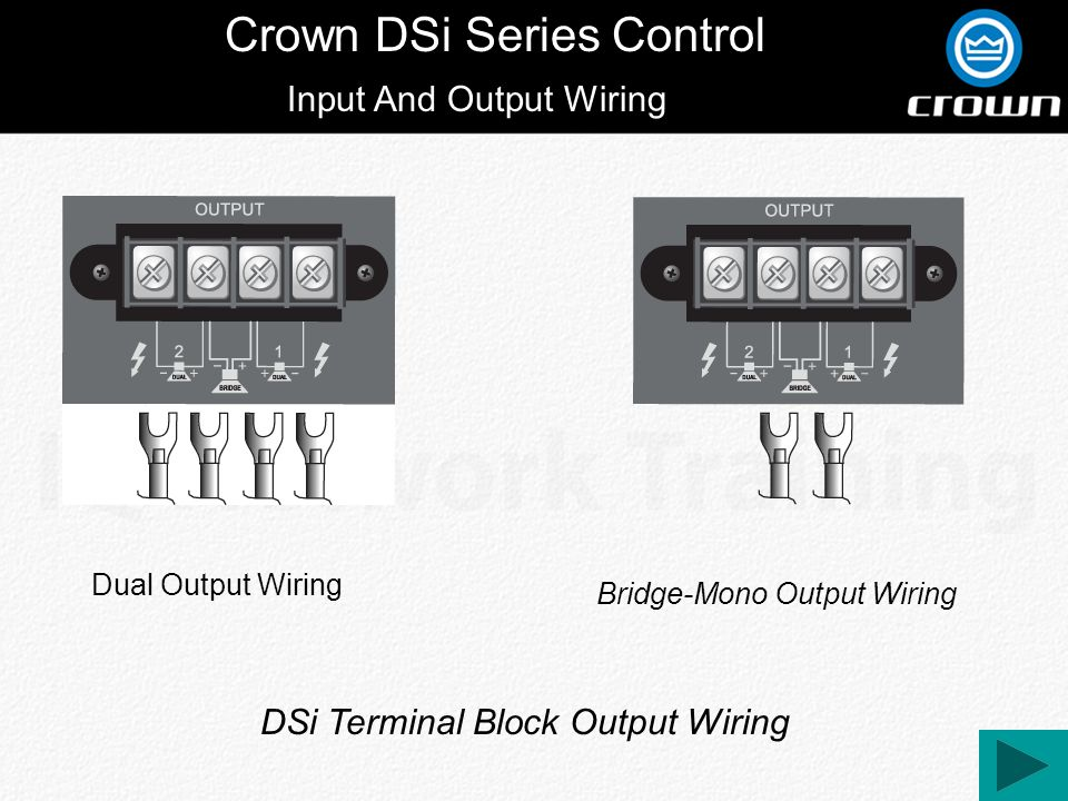 Crown DSi Series Control Input And Output Wiring Dual Output Wiring Bridge-Mono Output Wiring DSi Terminal Block Output Wiring