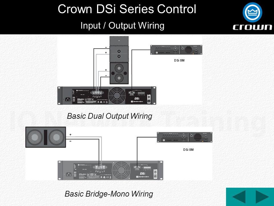 Crown DSi Series Control Input / Output Wiring Basic Dual Output Wiring Basic Bridge-Mono Wiring DSi 8M