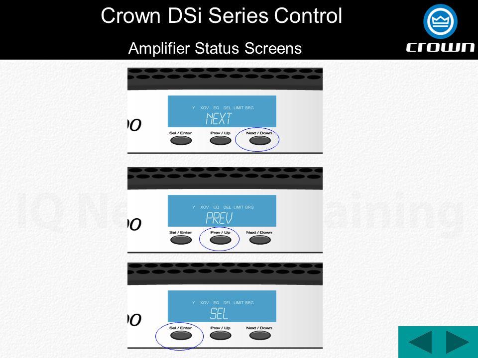 Crown DSi Series Control Amplifier Status Screens