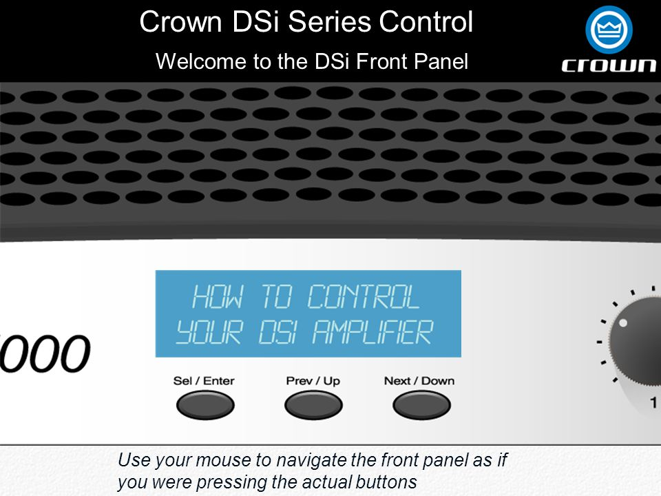 Crown DSi Series Control Back 90Hz Crossover Lows On Channel 1Mid /Highs On Channel 2 Output