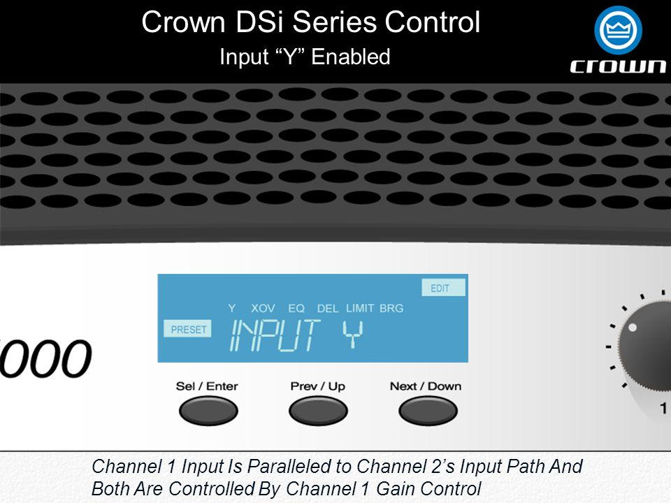 Crown DSi Series Control Input Y Enabled Channel 1 Input Is Paralleled to Channel 2's Input Path And Both Are Controlled By Channel 1 Gain Control