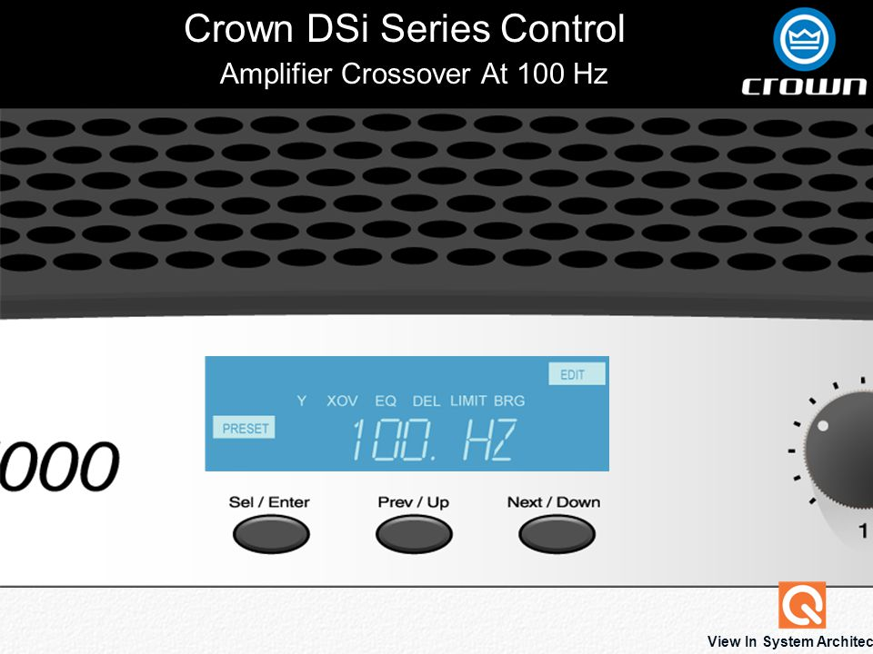 Crown DSi Series Control View In System Architect Amplifier Crossover At 100 Hz