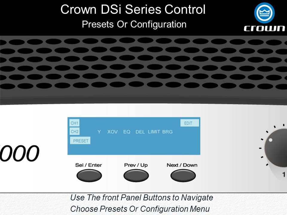 Crown DSi Series Control Back Preset 11 JBL 4632T--MH Click to View Crossover