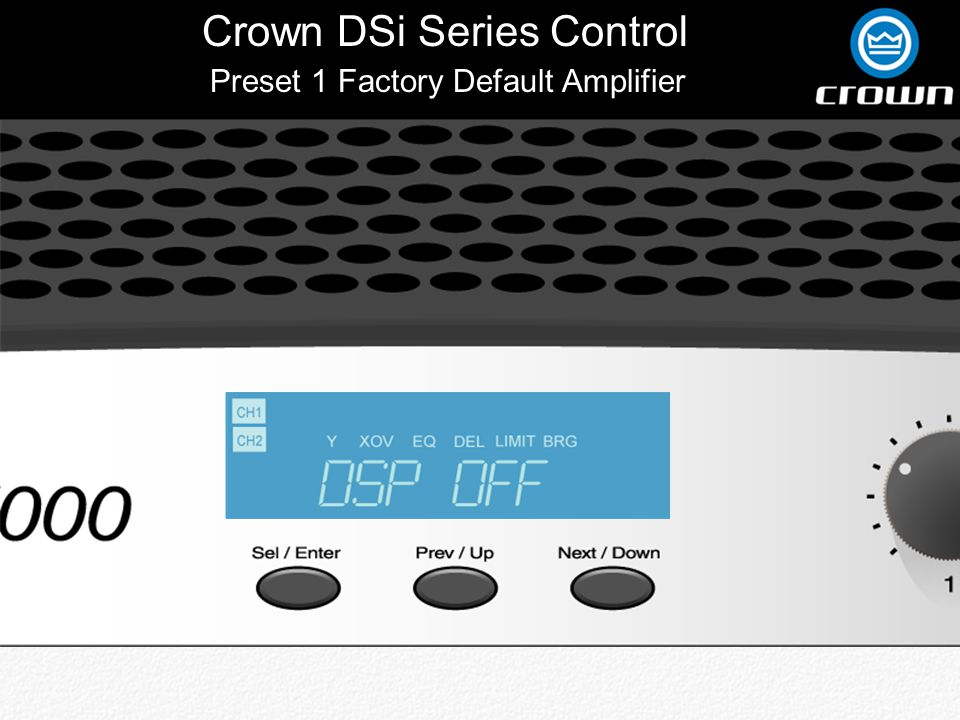 Crown DSi Series Control Back Preset 6 JBL 3632T-LF Click to View Equalization Part Of Tri-amped Configuration With Amplifier In Bridge-mono For Lows