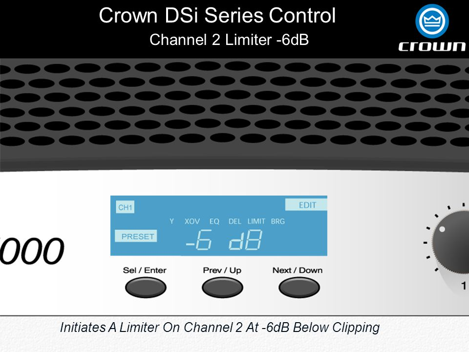 Crown DSi Series Control Channel 2 Limiter -6dB Initiates A Limiter On Channel 2 At -6dB Below Clipping