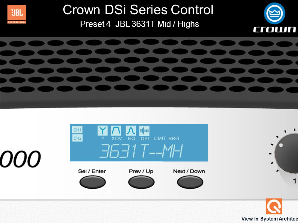 Crown DSi Series Control Back Preset 2 JBL 3631 Click to View Equalization Biamped Configuration With Lows To Channel 1 And Mid-Highs To Channel 2