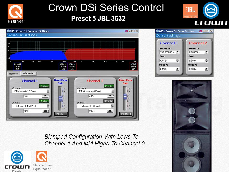 Crown DSi Series Control Back Preset 5 JBL 3632 Click to View Equalization Biamped Configuration With Lows To Channel 1 And Mid-Highs To Channel 2