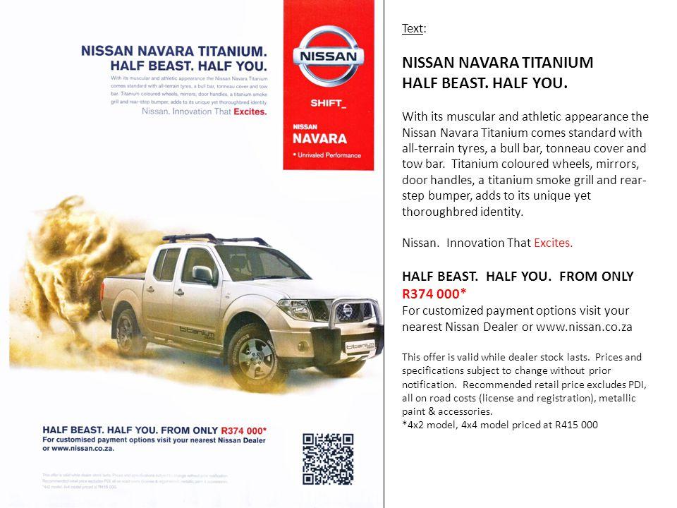 Text: NISSAN NAVARA TITANIUM HALF BEAST. HALF YOU.