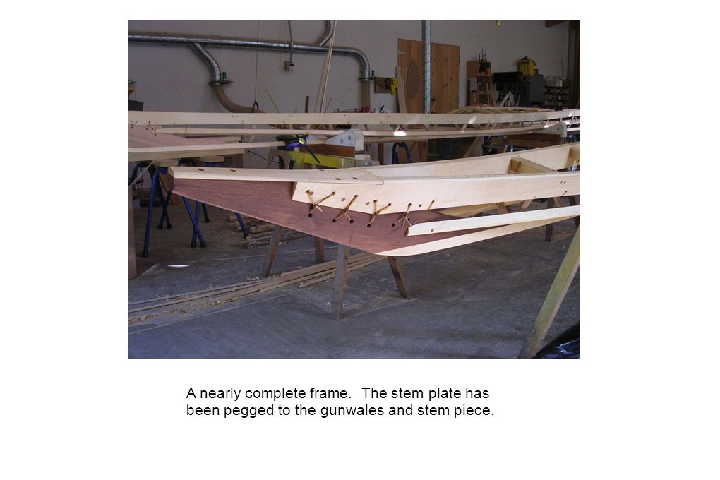 A nearly complete frame. The stem plate has been pegged to the gunwales and stem piece.