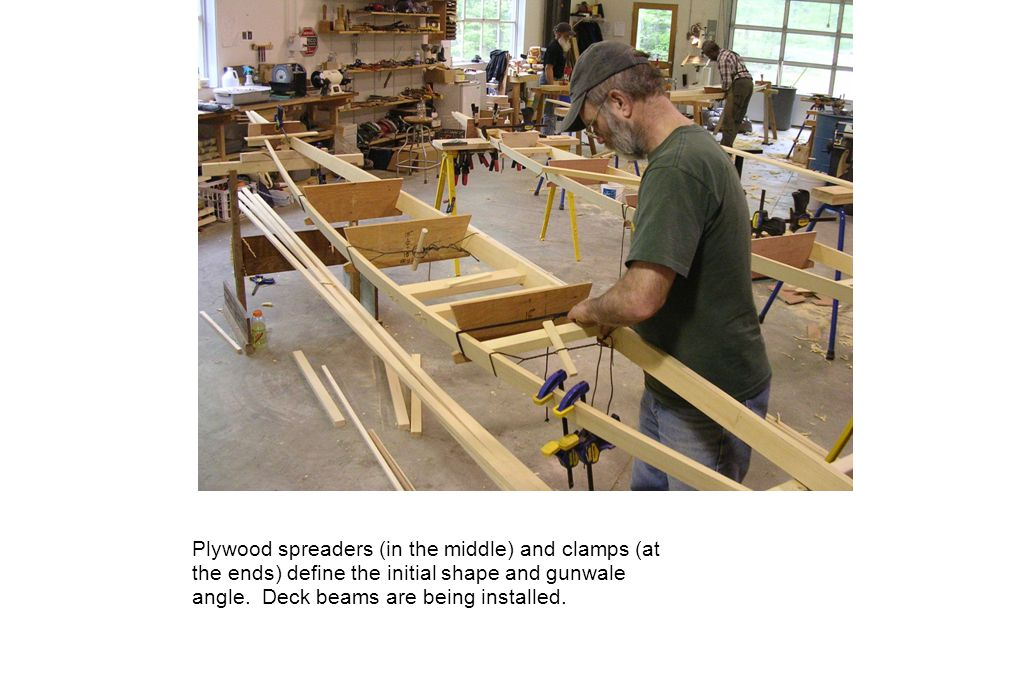 Plywood spreaders (in the middle) and clamps (at the ends) define the initial shape and gunwale angle. Deck beams are being installed.