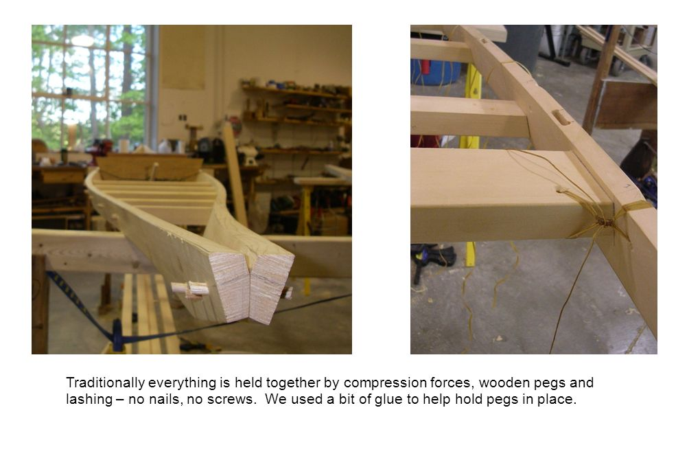 Traditionally everything is held together by compression forces, wooden pegs and lashing – no nails, no screws.