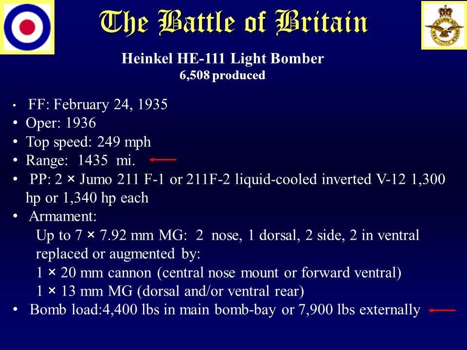 The Battle of Britain Heinkel HE-111 Light Bomber 6,508 produced FF: February 24, 1935 Oper: 1936 Top speed: 249 mph Range: 1435 mi.