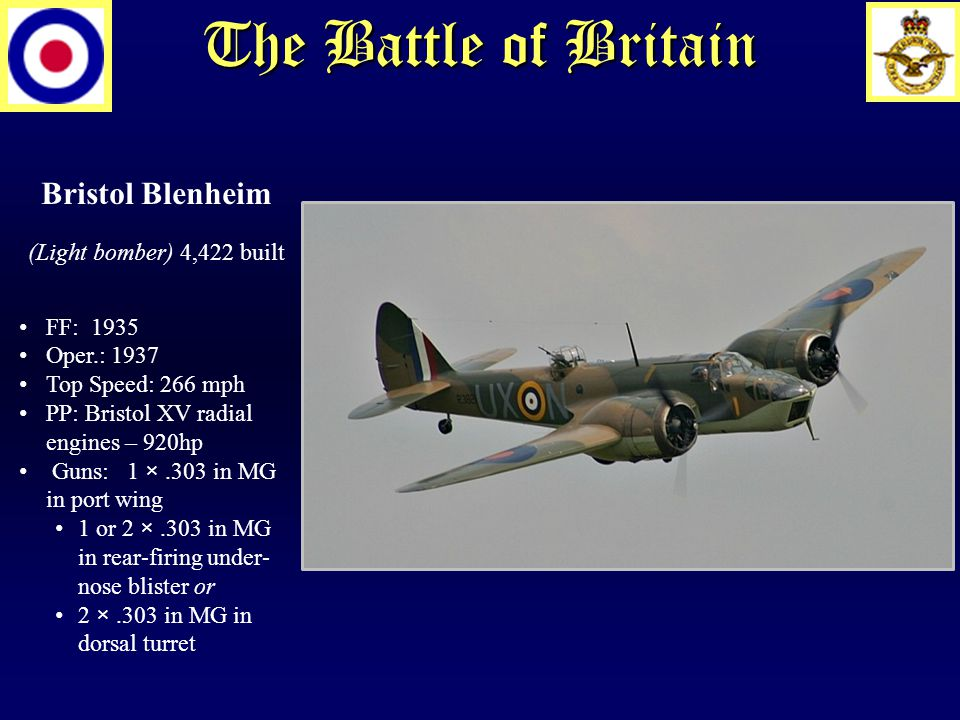 The Battle of Britain Bristol Blenheim (Light bomber) 4,422 built FF: 1935 Oper.: 1937 Top Speed: 266 mph PP: Bristol XV radial engines – 920hp Guns: 1 ×.303 in MG in port wing 1 or 2 ×.303 in MG in rear-firing under- nose blister or 2 ×.303 in MG in dorsal turret