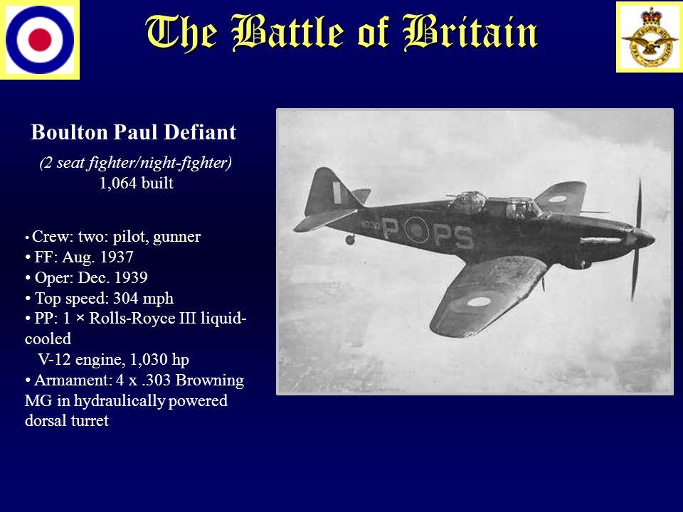 The Battle of Britain Boulton Paul Defiant ( 2 seat fighter/night-fighter) 1,064 built Crew: two: pilot, gunner FF: Aug.