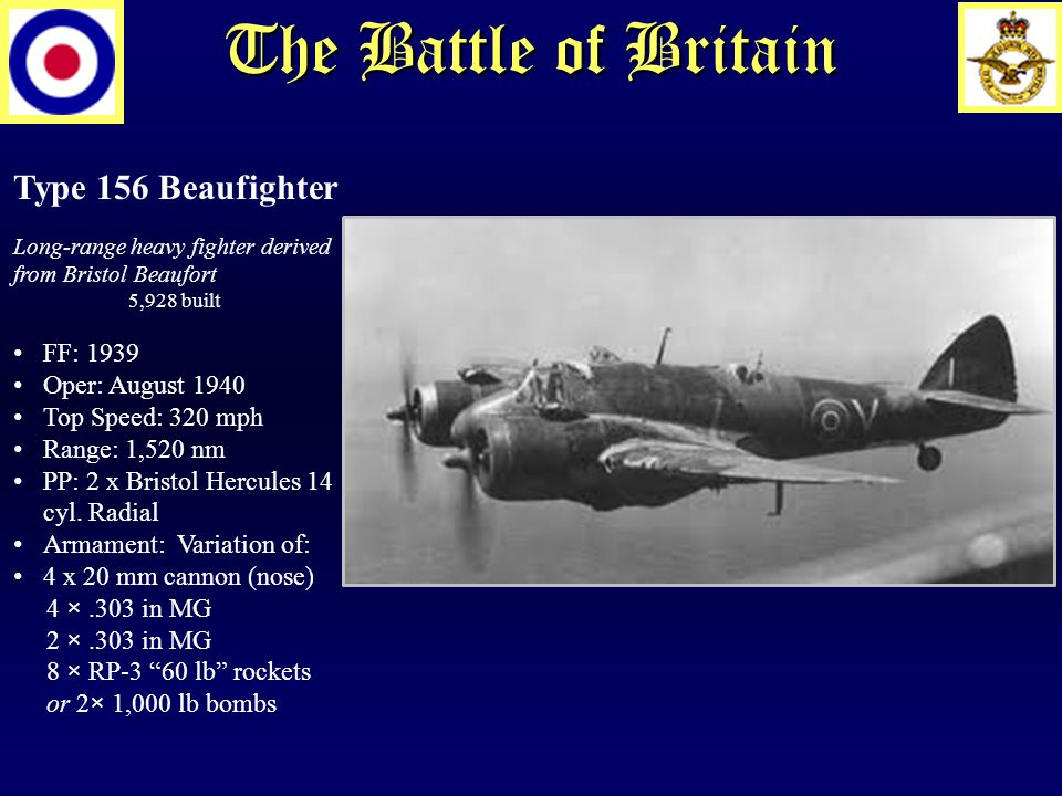 The Battle of Britain Type 156 Beaufighter Long-range heavy fighter derived from Bristol Beaufort 5,928 built FF: 1939 Oper: August 1940 Top Speed: 320 mph Range: 1,520 nm PP: 2 x Bristol Hercules 14 cyl.