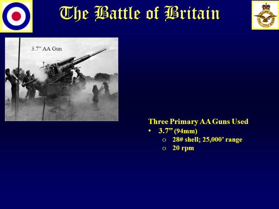 The Battle of Britain 3.7 AA Gun Three Primary AA Guns Used 3.7 (94mm) o 28# shell; 25,000' range o 20 rpm