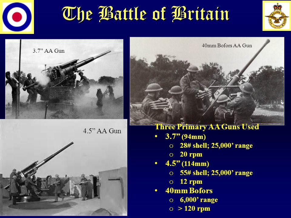 The Battle of Britain 3.7 AA Gun 40mm Bofors AA Gun 4.5 AA Gun Three Primary AA Guns Used 3.7 (94mm) o 28# shell; 25,000' range o 20 rpm 4.5 (114mm) o 55# shell; 25,000' range o 12 rpm 40mm Bofors o 6,000' range o > 120 rpm