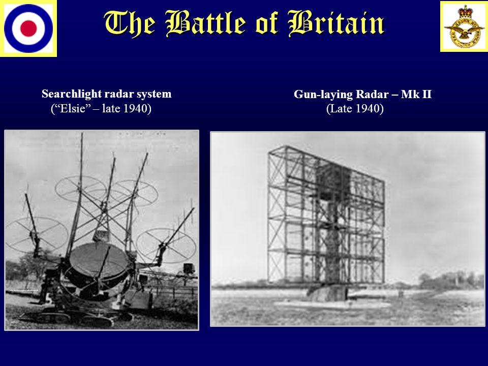 The Battle of Britain Searchlight radar system ( Elsie – late 1940) http://www.skylighters.org/howalightworks Gun-laying Radar – Mk II (Late 1940)