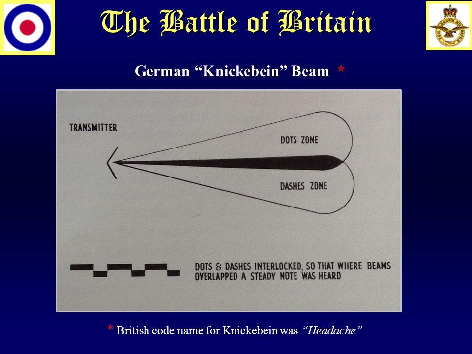 The Battle of Britain German Knickebein Beam * * British code name for Knickebein was Headache