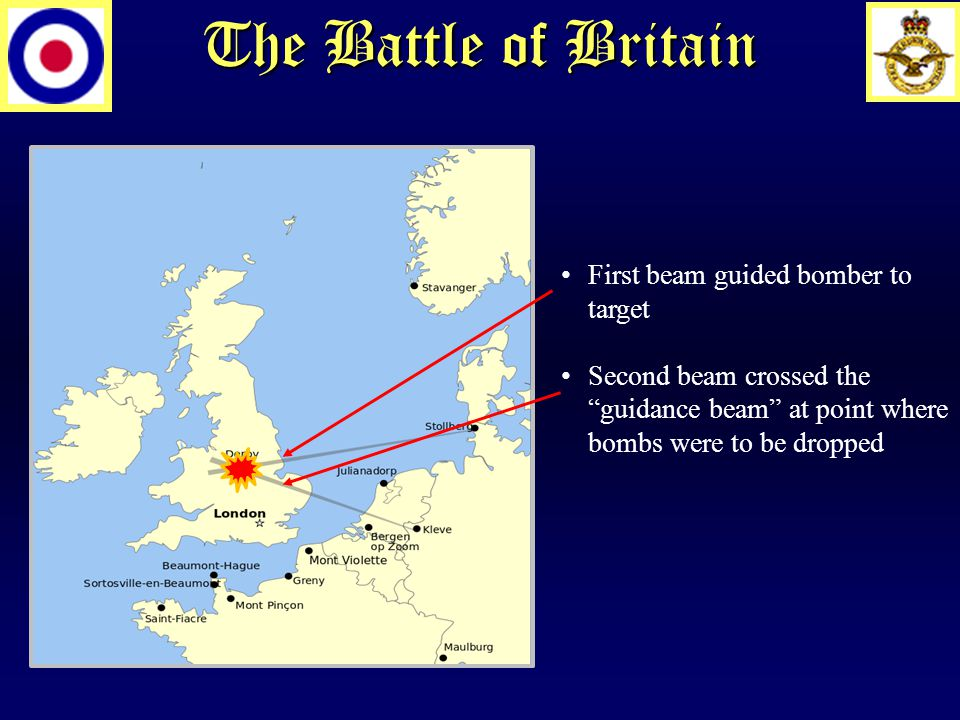 The Battle of Britain First beam guided bomber to target Second beam crossed the guidance beam at point where bombs were to be dropped