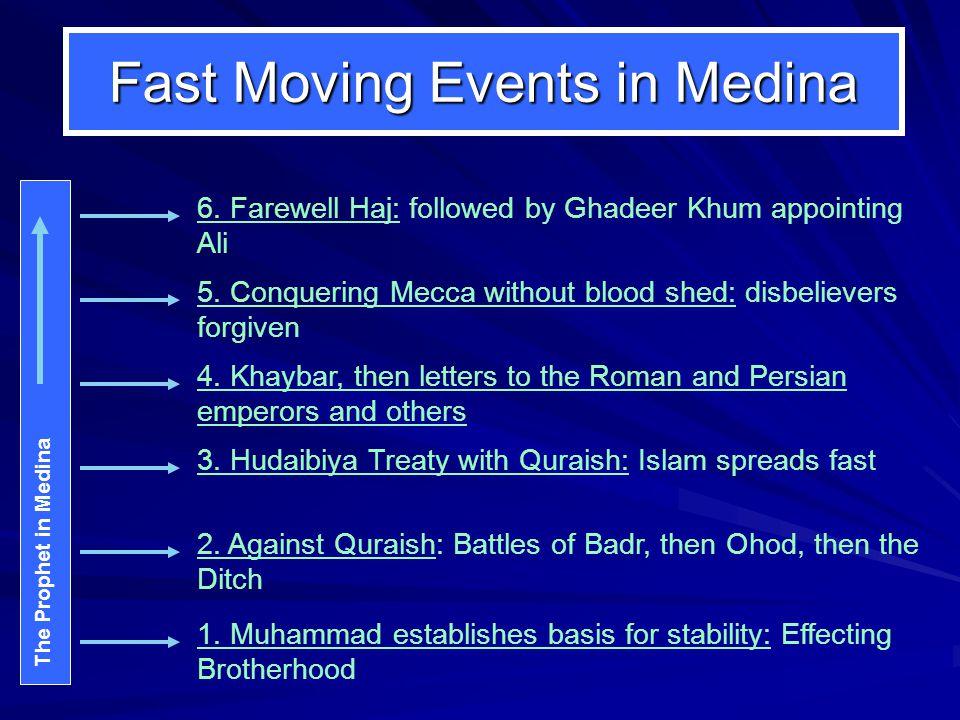 Ghadeer Khum Mid-way between Mecca and Medina: Stop at Ghadeer Khum Having received Ayah to Declare:بلغ ما أُنزل إِليك Prophet announces to the massiv